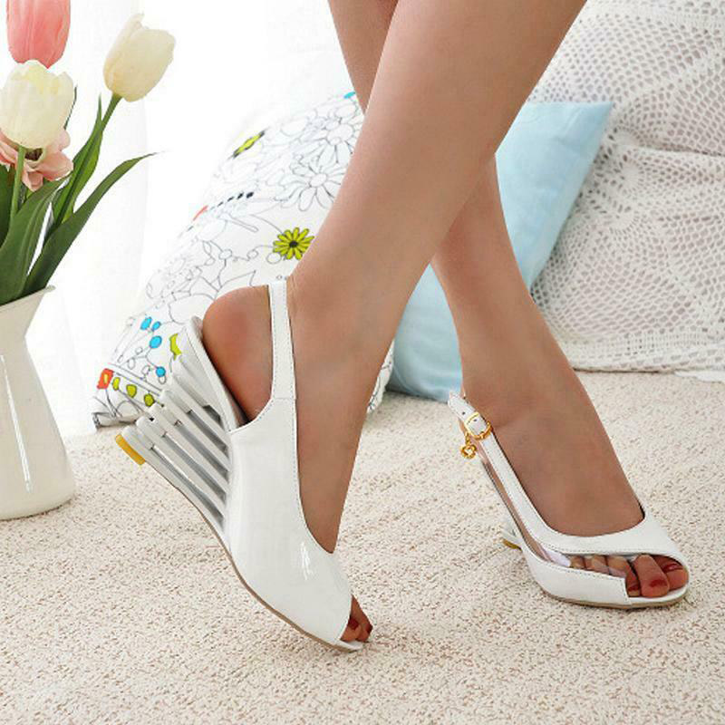 Flat-Buckle-Peep-Toe-Wedges-Comfort-Lightweight-Heel-High-Heel-Wear-resistant-Women-Ssandals-Shoes