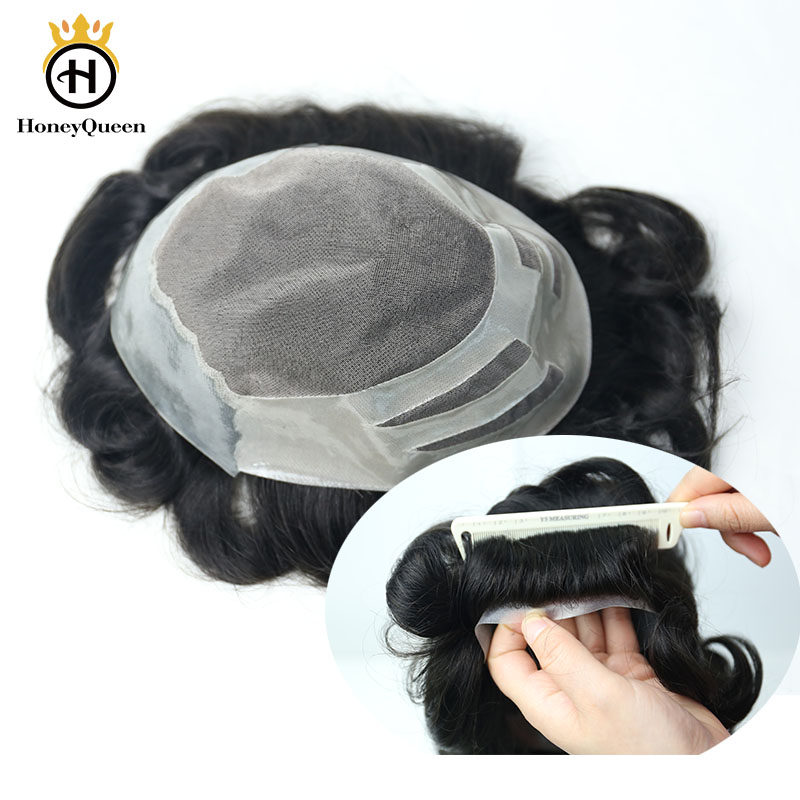 Natural Looking Hair Toupee Men Mono With PU Around 100% European Human Hair Toupee Replacement System 1B# Color Remy Hair