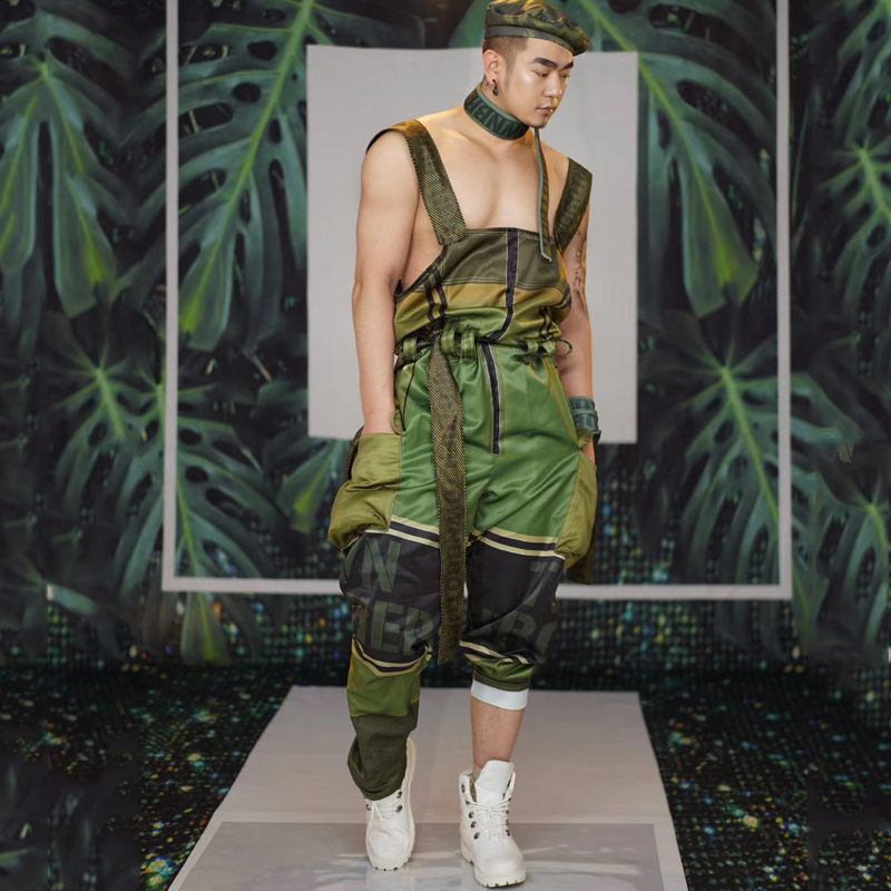 New Nightclub Men Dance Costume Green Rompers Jumpsuit Gogo Dance Festival Outfits Forest Party Stage Wear Man Dj Costume DJ1171