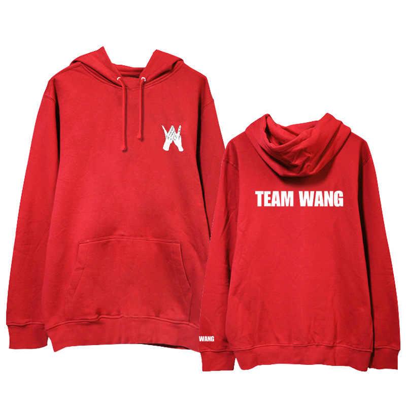 Kpop Got7 Jackson Team Wang Same Printing Fleece/ Thin Pullover Hoodies for Autumn Winter Unisex Sweatshirt Harajuku Hip Hop Top