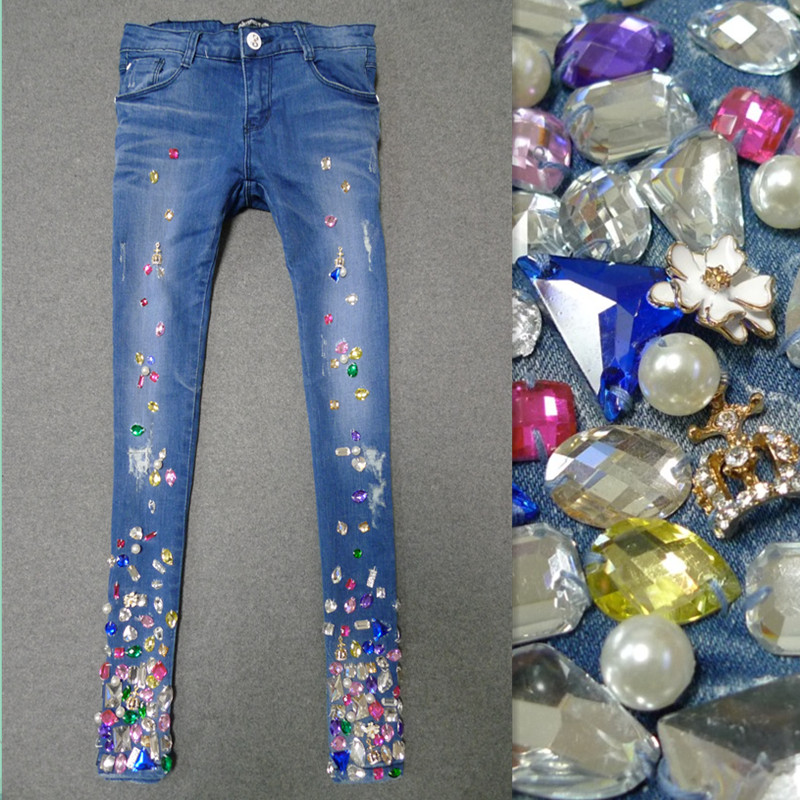 Spring Autumn New Embroidered Diamond Women Fashionable Hole Ripped Stretch Pencil Pants Diamond Casual Denim