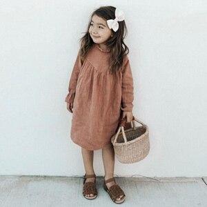 2020 Spring Baby Girls Dresses European & America Toddler Kids Girls Dress Linen Dress Princess Kids Clothings(China)