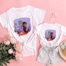 Повседневная футболка для мамы и дочки одинаковая семейная одежда