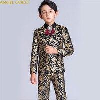 Black Golden boys suits for weddings kids Blazer Suit for boy costume enfant garcon mariage jogging garcon blazer boys tuxedo