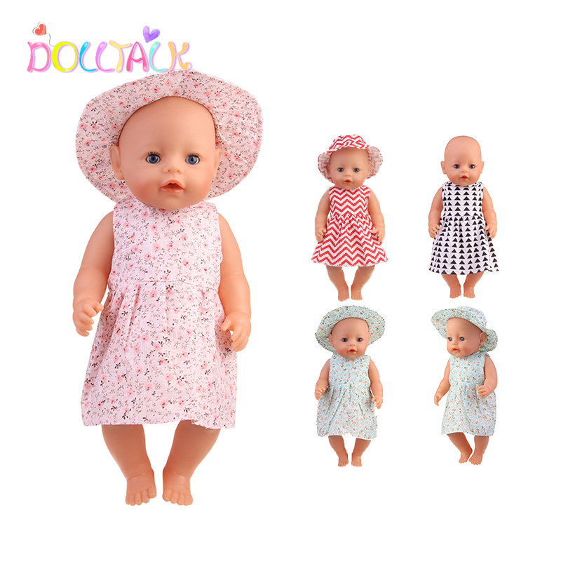 New 43 cm Born Baby Doll Clothes Hat Dress For 18 Inch 1/3 BJD Dolls White Sock Underwear For Girl