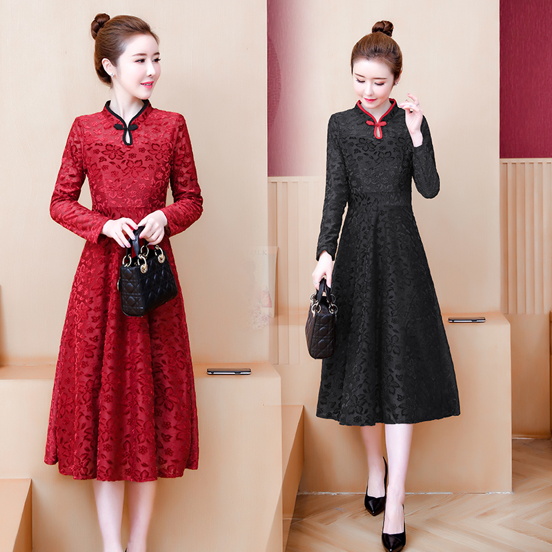 2020 Oriental Style Satin Dress Cheongsam Qipao Dress For Women Chinese Dress Traditional Elegant Vintage Dress Asian Year Gown