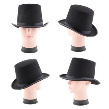 New Kids Adult Deluxe Black Top Hat Magician 3 Size Hat Jazz Hat Topper For Victorian Ringmaster Cosplay Props image