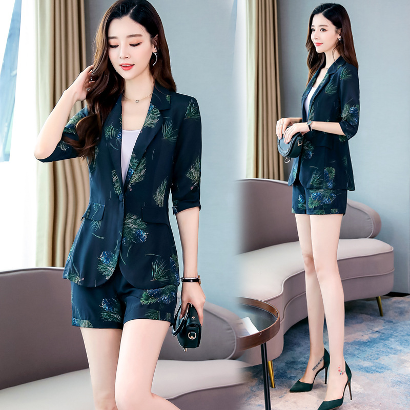 Fashion Casual Printed Hong Kong Flavor Small Suit Shorts WOMEN'S Suit 2019 Autumn New Style Goddess-Style Royal Sister Two-Piec