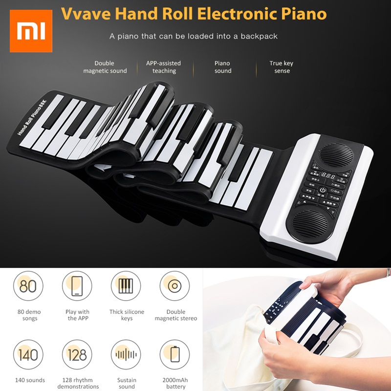 Xiaomi Youpin  Digital Roll-up Electronic Piano Vvave Sound Floating Hand Roll Portable  Keyboard  Piano Musical  Instrument