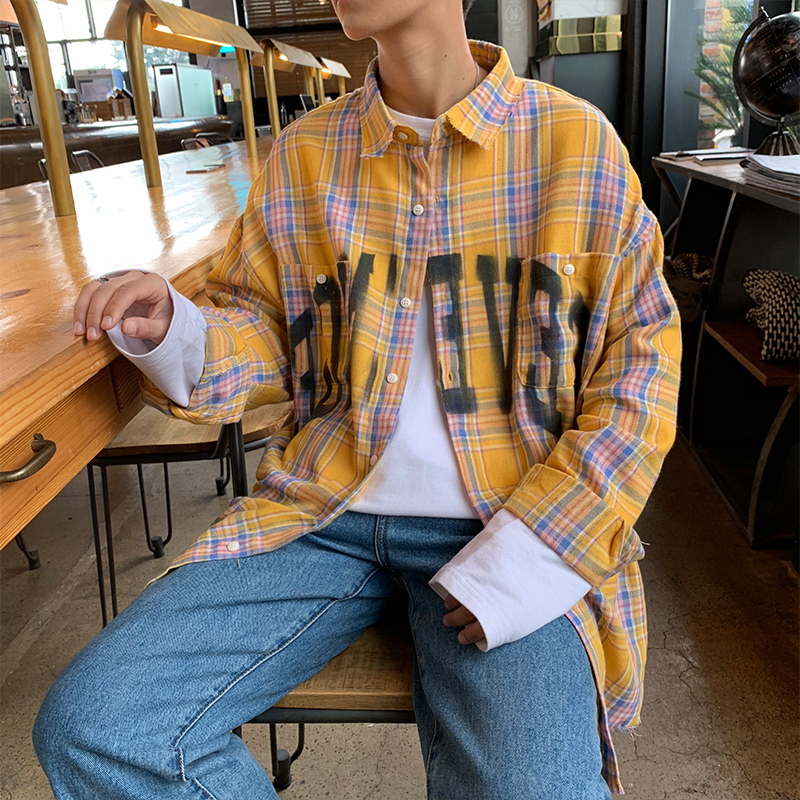 Men's shirt new summer 2019 slim plaid English print long sleeve shirt loose casual lapel fashion personality young men's wear
