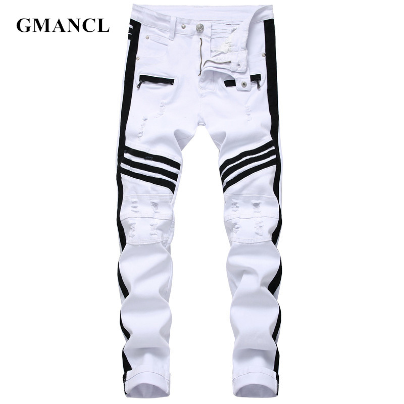 Men Hip-hop Stripe Design Patchwork Ripped Stretch Slim Jeans Streetwear Cotton Male Casual Joggers Denim Trousers Plus Size 42