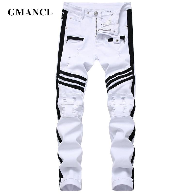 Men Hip-hop Stripe Design Patchwork Ripped Stretch Slim Jeans Streetwear Cotton Male Casual Joggers Denim Trousers Plus Size 42