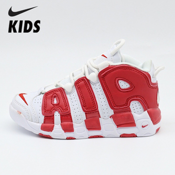 Nike Air More Uptempo Air Nike Kids Shoes Air Cushion Serpentine Children Basketball Shoes 414962-100