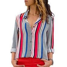 Женские рубашки в полоску, темпераментные топы с отворотом на шее, универсальные офисные женские футболки, осенняя свободная одежда, повседневная футболка