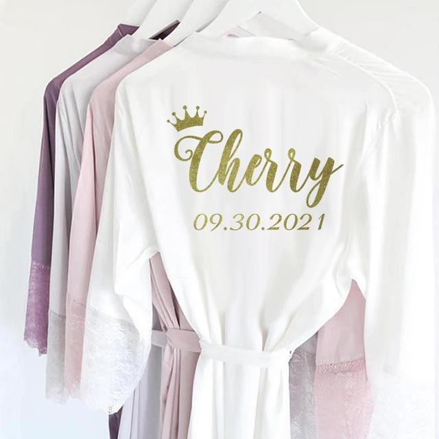 R18 3 Gepersonaliseerde Sexy Satin Lace Trim Kimono Bruids Gewaden Bruid Bruidsmeisje Nachtkleding Dress Party Nachtkleding voor Vrouwen