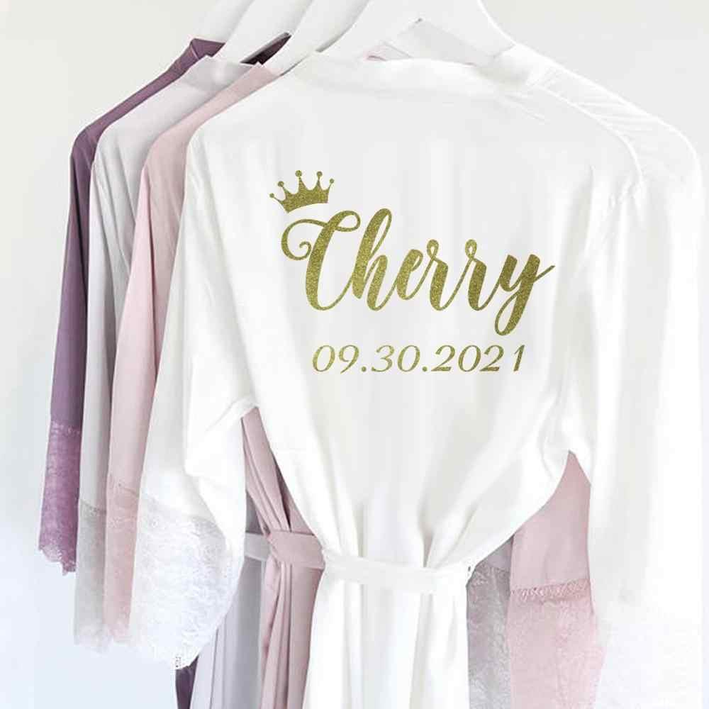 R10-10 Pribadi Sexy Satin Renda Kimono Pengantin Baju Pengantin Baju Tidur  Dress Pesta Baju Tidur Wanita