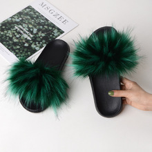 Fashion Fur Slippers Summer Furry Slippers Female Faux Fur Slides Home Plush Slippers Flat Flip Flops Casual Shoes Ladies Shoes home slippers for men boys spring summer autumn slippers male slides flip flops flat shoes fashion men solid casual slippers