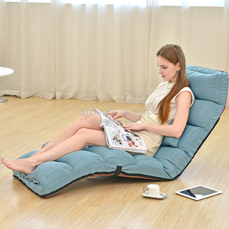 H Angle Adjustable Lazy Sofa Floor Chair With Feet Cushion Cotton And Line Fabric Sofa Bed Strong Bearing Portable Leisure Chair