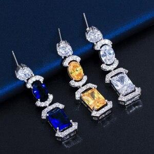 Image 3 - CWWZircons luksusowe długi dynda spadek ciemny niebieska cyrkonia sześcienna kobiet Party kolczyki naszyjnik biżuteria ślubna dla nowożeńców zestawy T356