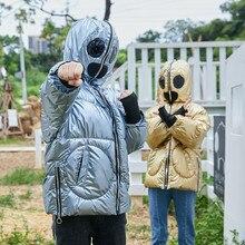 Зимнее креативное модное стильное пальто в стиле инопланетян для маленьких мальчиков и девочек; зимнее плотное теплое пальто на молнии с капюшоном; верхняя одежда