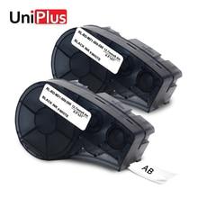 UniPlus for Brady Label Tapes 2pcs M21-500-595-WT Vinyl 12mm Compatible BMP21 Plus Labpal Idpal Black on White Maker