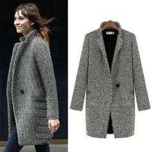 Women Fashion Long Woolen Coat Female Plus Size Winter Plaid Jacket Wool Blend Cape Coat Tweed Outwear drop shoulder plaid tweed plus size coat