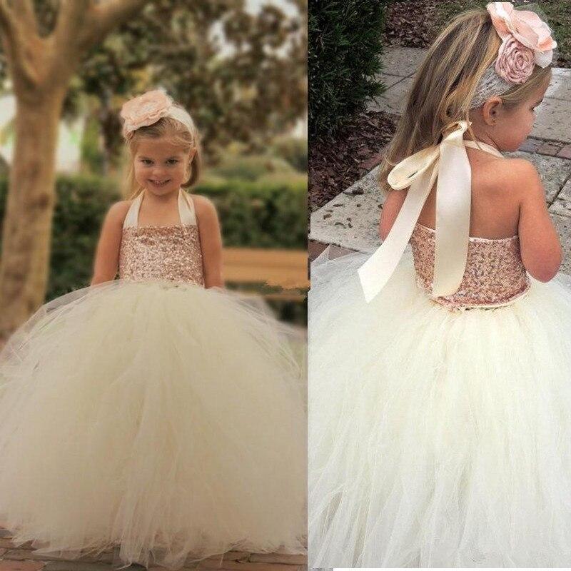 Dress Flower-Girl-Dresses Cute Sequin Custom Tutu Bling Ball-Gown Rose-Gold Floor-Length
