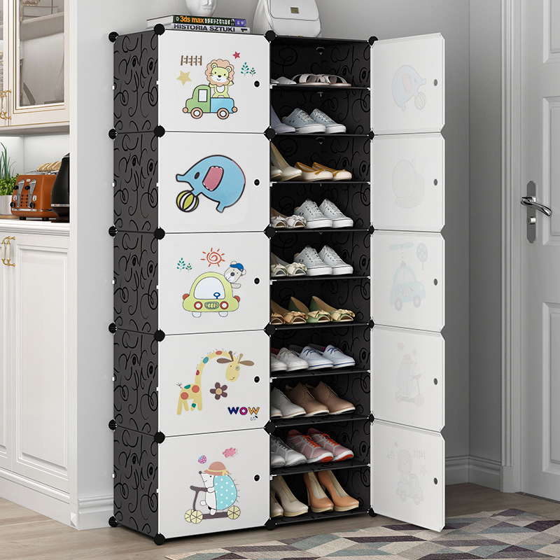 Plastic Assembled Shoe Cabinet Multilayer Dustproof Shoe Rack Large Capacity Shoes Storage Modular Closet Organizer With Door