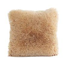 Funda de almohada de felpa 16x16 funda de piel sintética suave y cómodo sofá de Navidad Vintage cama decoración del hogar funda de almohada funda de cojín (caqui)