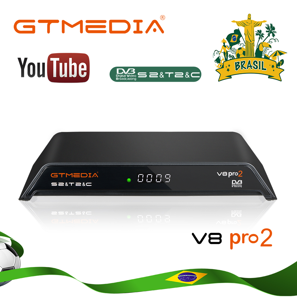 GTmedia V8 Pro 2 Receptor DVB-T2/S2/Cable J83.B Built-in WiFi H.265 ACM Support IPTV CCCAM NEWCAM CS Receiver Free From Brazil