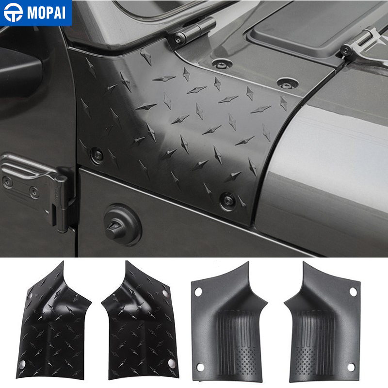 MOPAI Engine Cover Car Stickers for Jeep Gladiator JT 2018+ Car Hood Angle Wrap Covers Accessories for Jeep Wrangler JL 2018+