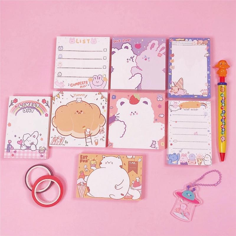 100 Sheets Ins Cute Cartoon Bear Note Paper Tearable Memo List Kawaii Message Note Lovely Girl Notepad Office School Supplies