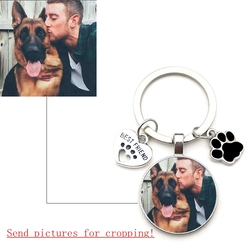 Custom DIY Dog Photo Keychain I Love Dog Glass Crystal Pendant Mini Heart Keychain Car Key Man and Girl Favorite Gift Souvenir