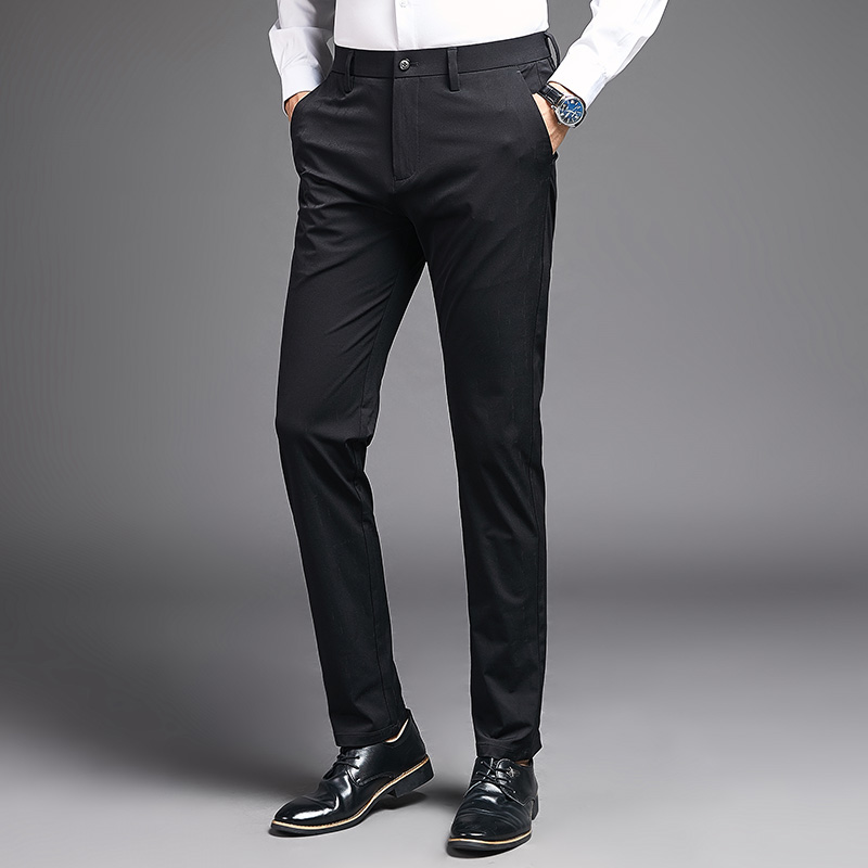 Classic Business Mens Pants Casual Stretch Male Trousers Man Straight High  Quality Spring Summer Plus Size Slim Fit Men Pant-Leather bag