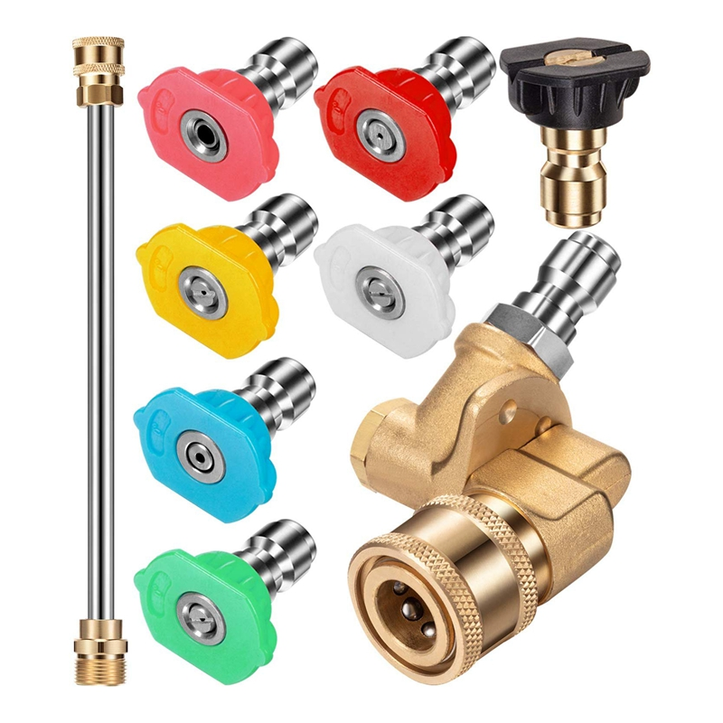 Pressure Washer Nozzle Tips Set  Quick Connector Pivoting Adapter Coupler with 5 Rotation Angles  Soap and Rinse Nozzles Spray A|Watering Kits| |  - title=