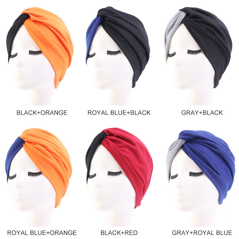 H45cc4320a5134158b30e041c12196279g - Muslim head scarves for women solid cotton inner hijab caps India bonnet vintage cross turban hijabs muslim islamic turbante hat