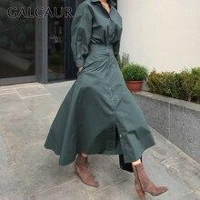 GALCAUR 여성을위한 한국어 미니멀리스트 드레스 옷 깃 칼라 긴 소매 높은 허리 순수한 드레스 여성 가을 패션 새로운 2020