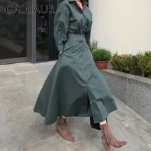 Galcaur 韓国ミニマリストのドレス女性のためのラペル襟長袖ハイウエストピュアドレス女性の秋のファッション新 2020
