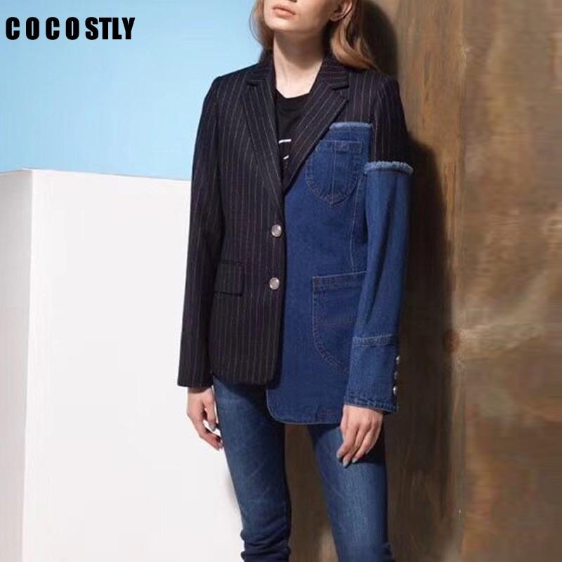 Europe New Fashion Temperament Blazer Women Jackets Stripe Stitching Denim Casual Suit Coats Female Wild Tops Autumn 2019