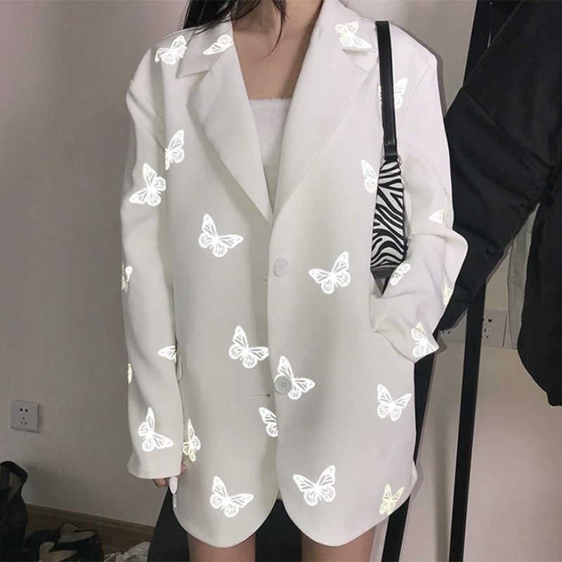 Reflective Night Lighting Butterfly Print White Blazer Loosen Jacket  Women Fashion DJ Show Ins.Pop Dance Costumes Fluorescence