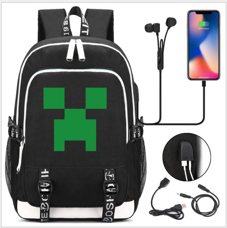 Minecraft Backpacks Oxford USB Charge Travel Bags Book Rucksacks My World Action Figure Toys GAME Kids Gifts Capacity Mochilas