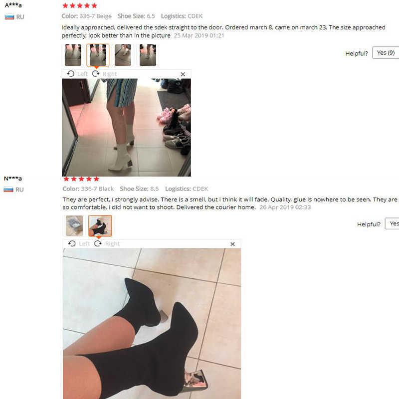 2019 Artı Boyutu 42 Kadın 7.5cm Yüksek Topuklu Ayak Bileği Beyaz Çorap Şeffaf Şeffaf Topuklu Çizmeler Seksi Fetiş Çizmeler saten Ipek Ayakkabı