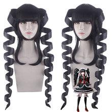 Danganronpa celestia ludenberg cosplay peruca espiral preta onda longo dangan ronpa celeste cabelo sintético anime traje peruca + peruca boné