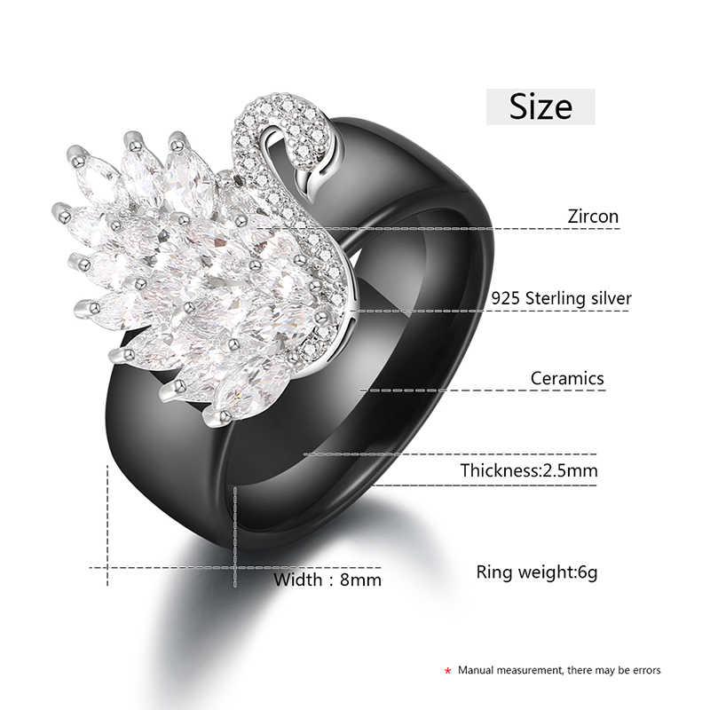 Kristall Schwan Schmuck Sets S925 Sterling Silber Gesunde Keramik Material Frauen Ringe Stud Ohrringe für Frauen Engagement Geschenk