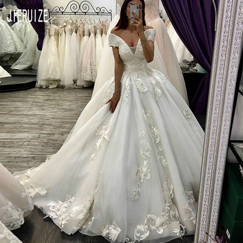 Jieruize Vintage White Ball Gown Wedding Dresses V Neck Short Sleeves Lace Up Back With Appliques Bride Dresses Vestido De Noiva Wedding Dresses Aliexpress