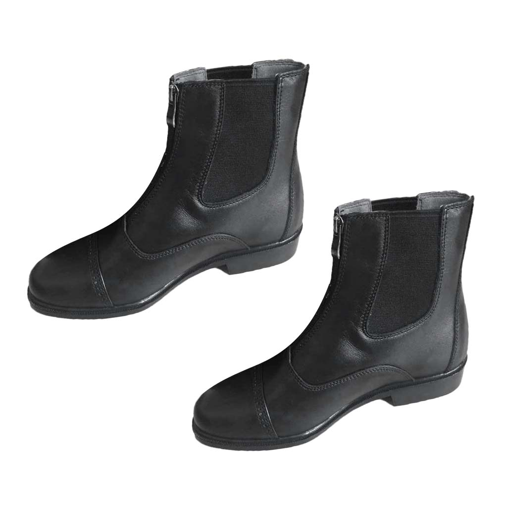 1 Pair Leather Jodhpur Boots Paddock Boots Zip Front Leather Zip-up