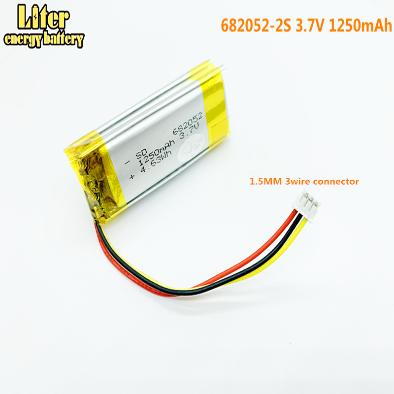 1.5MM 3wire connector 682052-2S 3.7V <font><b>1250</b></font> mAh Lithium polymer <font><b>Battery</b></font> For Pet GPS Hunting dog GPS DVR MP3 MP4 image