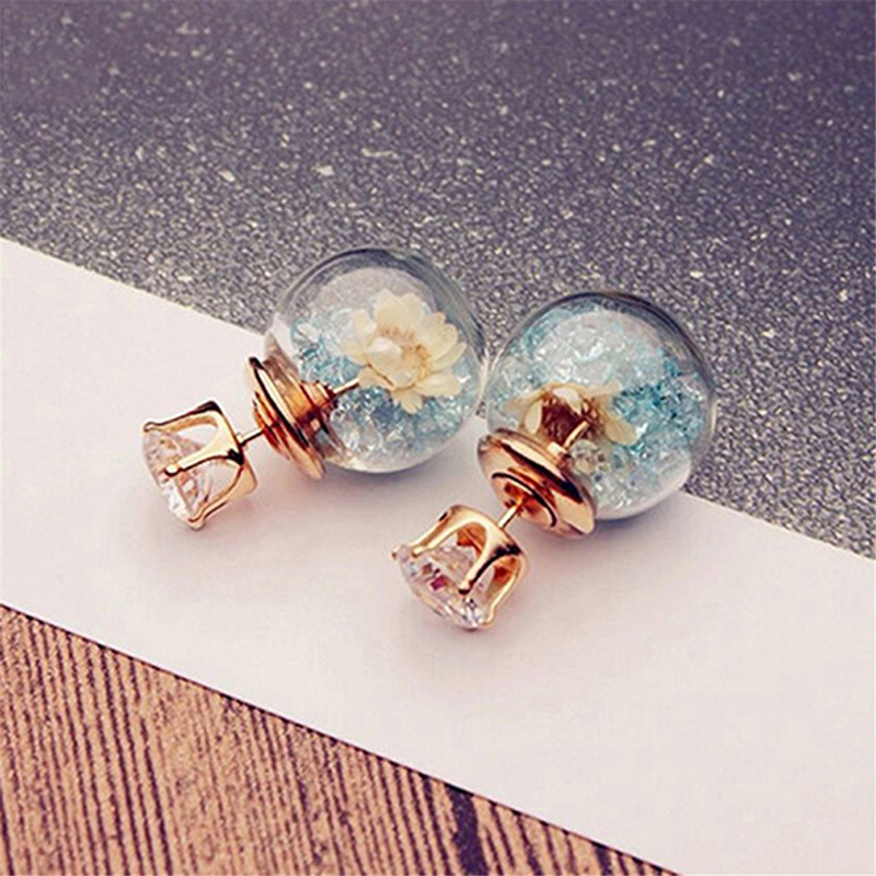 Fashion Simulated Glass Ball Earrings Flower Korea Jewelry Double Side Ball Stud Earring Statement For Women