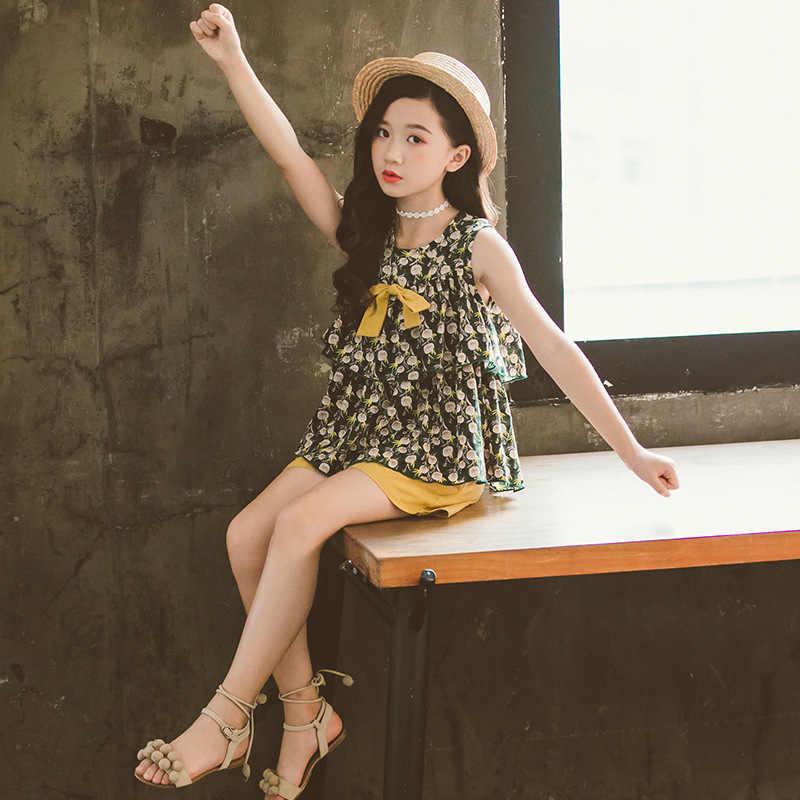 2020 Ragazze di estate Abbigliamento Per Bambini Set Bambini Senza Maniche Magliette E Camicette & Shorts per I Bambini adolescente Ragazze Casual Tuta Tuta 6 8 10 11 12 anni