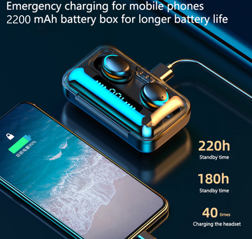 TWS Bluetooth 5 0 Earphones 2200mAh Charging Box Wireless Headphone 9D Stereo Sports Waterproof Earbuds Headsets